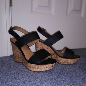 Black strap cork wedge heels